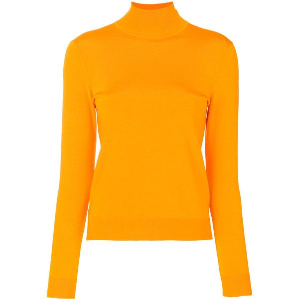 Pringle Of Scotland slim-fit roll neck top ($270) ❤ liked on Polyvore featuring tops, yellow, orange top, slim fit tops, slimming tops, yellow top and viscose tops