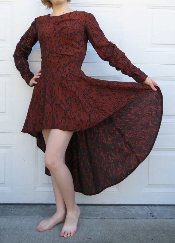 Totally 80s Home Made Bronze and Black Short-Long Prom Dress with Amazing…