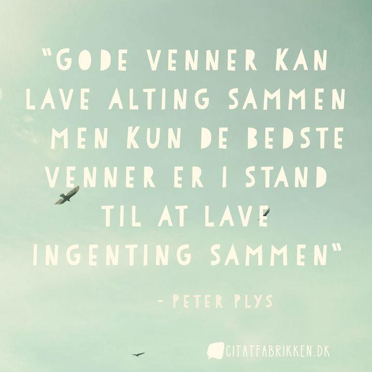 """""""Gode venner kan lave alting sammen – men kun de bedste venner er i stand til at lave ingenting sammen"""" - Peter Plys"""