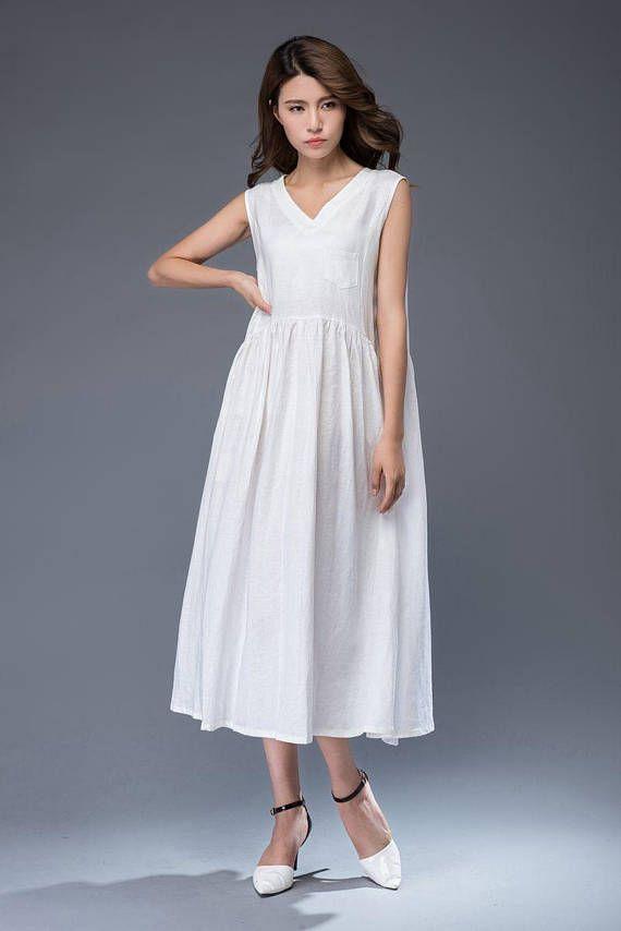 119358a3e7e Beige Linen Dress - Maxi Neutral Color V-neck Sleeveless Loose-Fitting  Summer Dress with Pocket C487