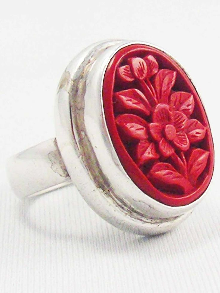 Vintage Sterling Silver Asian Flower Carved Rich Red CINNABAR Ring 925