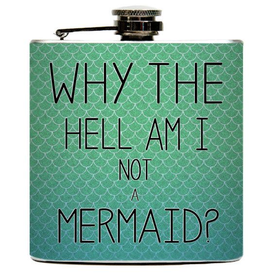 I MUST HAVE THIS!!!  The Mermaid Liquid Drinking Flask. Mermaids Scales Ocean Girls Night Funny Birthday Party Gifts - Stainless Steel 6 oz via Etsy