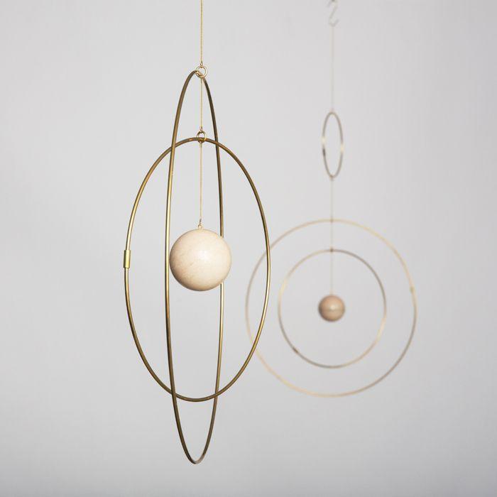 Medium Marble & Brass Galaxy Mobile - Trouva
