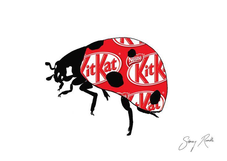 Lady Kitkat - Ladybug ink drawing with Kitkat overlay.  Stacey Rumble