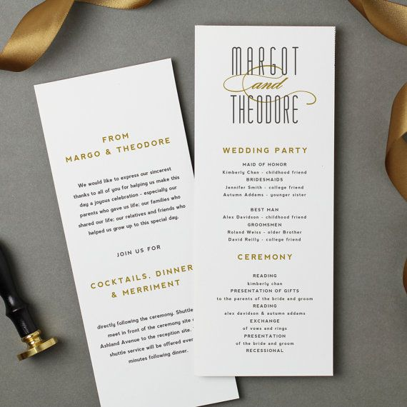 Printable Wedding Program Template | INSTANT DOWNLOAD | Matchbook | Flat Tea Length | Editable Colors | Mac or PC | Word & Pages