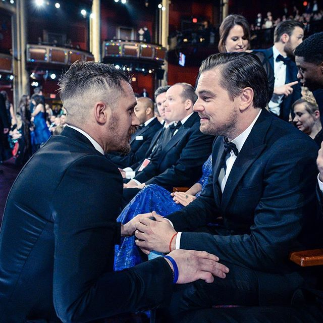 Tom Hardy and Leonardo DiCaprio at the Academy Awards