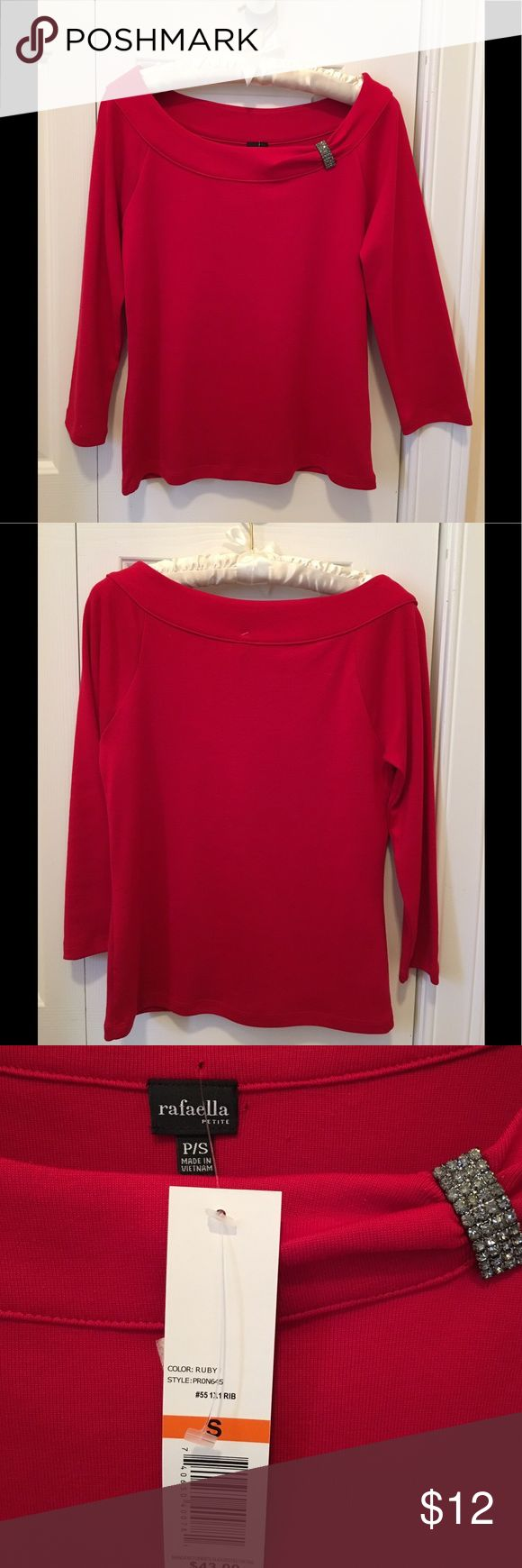 Rafaella Petite Red Top with Bling ❤️ Rafaella Petite long sleeve top/jersey,  long sleeves. Bling on Neckline for drama.  Ruby color.  Size PS, Petite small. 100% cotton.  Made in Vietnam.  Please note in third picture the tiny hole in the fabric from the price tag, and the tinier hole to the right of the tag. Priced accordingly.  Hardly noticeable. Rafaella Tops Tees - Long Sleeve