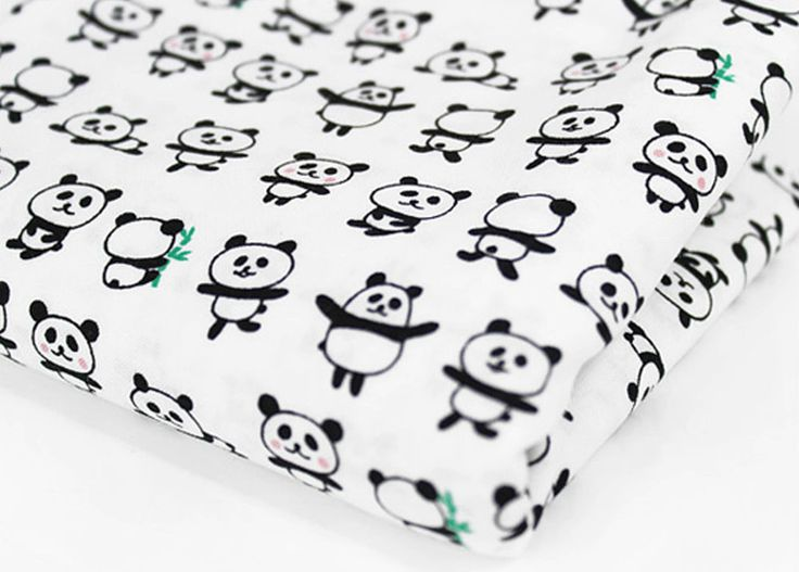 Panda 100% Cotton Fabric / All sizes / Quilting fabric off cuts (ff294)