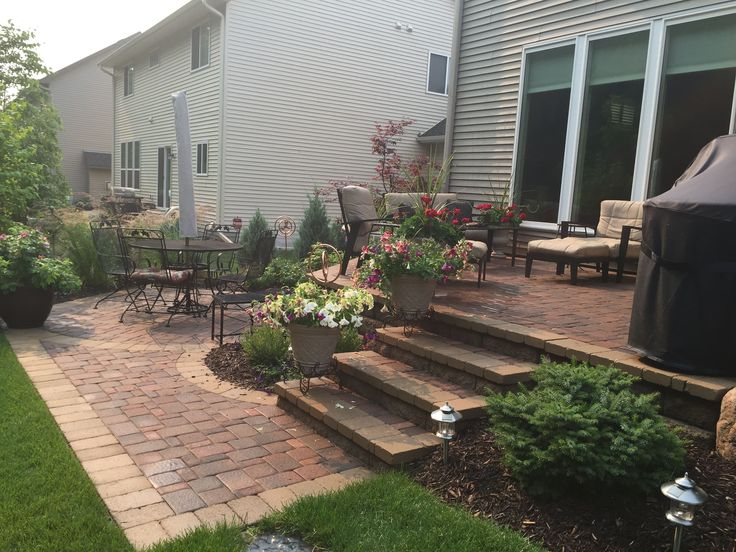 Raised Patio With Steps Down To A Second Patio Space. Two Level Patio.