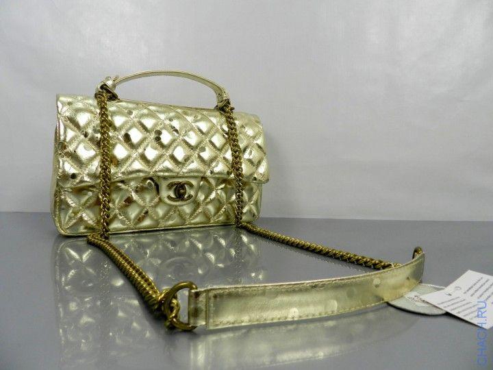 Сумка из натуральной кожи цвета золотистого Шанель Chanel с золотистой цепочкой в комплект