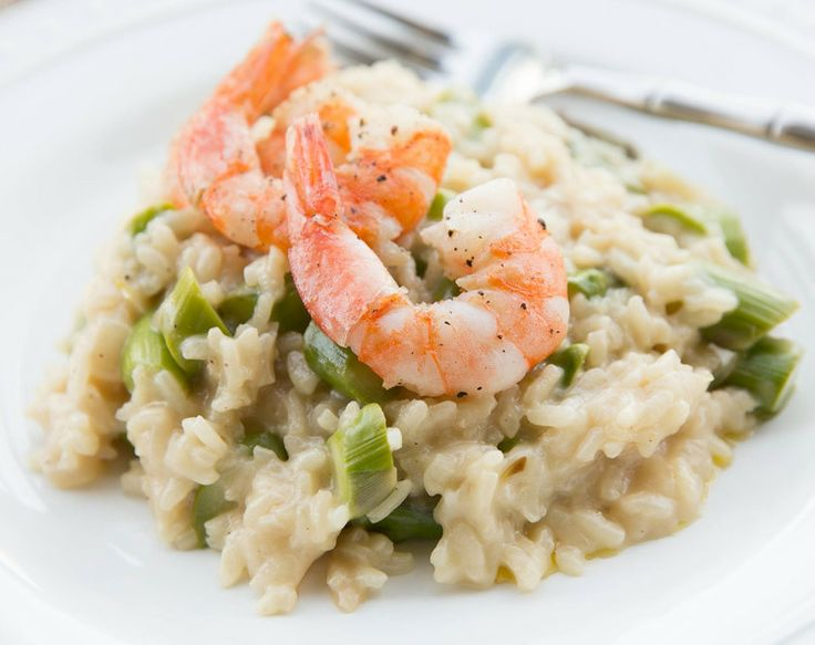 Asparagus Risotto with Pan-Seared Shrimp | Eating Meat | Pinterest