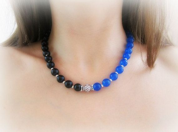 Gemstone beaded necklace agate necklace by MalinaCapricciosa