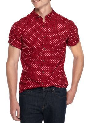 True Craft Men's Short Sleeve Retro Aztec Button-Up Shirt - Red Barn - 2Xl
