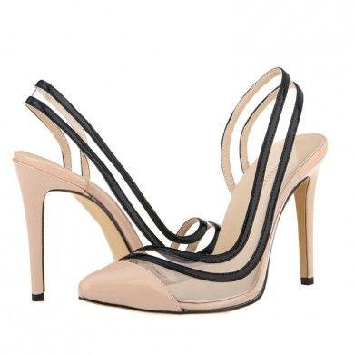 CHANEL TRANSPARENTE NUDE - Chanel de couro com salto de 11cm. Sapatos Importados. Tamanhos 33 ao 40 - Só R$ 310,00!!!