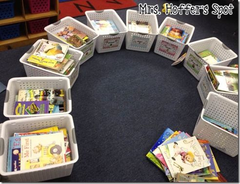 This is how I want to organize daycare books, toys, etc. Monthly bins following seasonal themes.