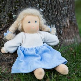 Organic Waldorf Doll with mohair braids made in a small workshop in Germany. Such a sweet face!: Waldorf Dresses, Certified Organizations, Waldorf Dolls, Hands Paintings Faces, Organizations Cotton, Mohair Braids, Nanchen Organizations, Blondes Braids, Organizations Waldorf