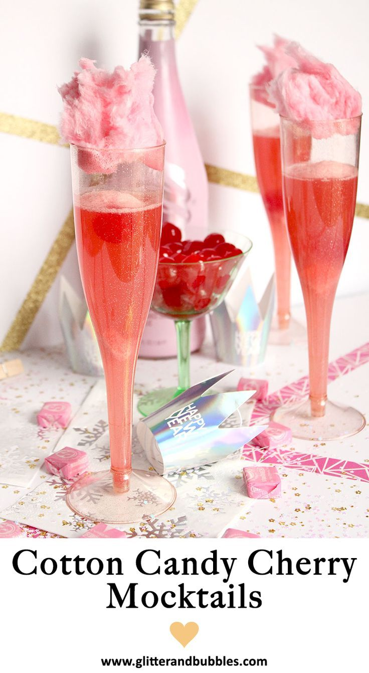 An Easy Recipe From Glitter And Bubbles For Cotton Candy Cherry Mocktails Perfect For Valentine S Day Cherry Candy Mocktails Pretty Drinks