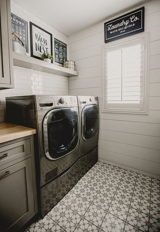 Subway tile and shiplap in laundry room