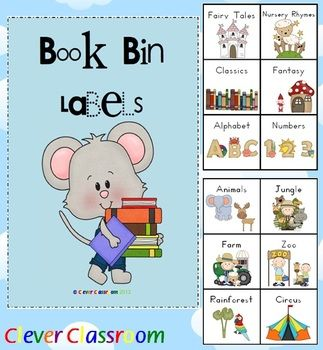 Book Bin Labels for the Classroom x 60 - 13 pages....only $3 on TpT