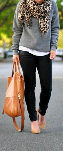 leopard print scarf and sweatshirt.