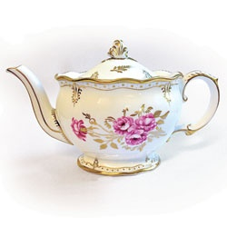 "Royal Pinxton Rosesy Teapot - In 1957, Queen Elizabeth II and Prince Philip visited Derby, where the mayor gave them with a Royal Crown Derby 120-piece set in ""Pinxton Roses""."