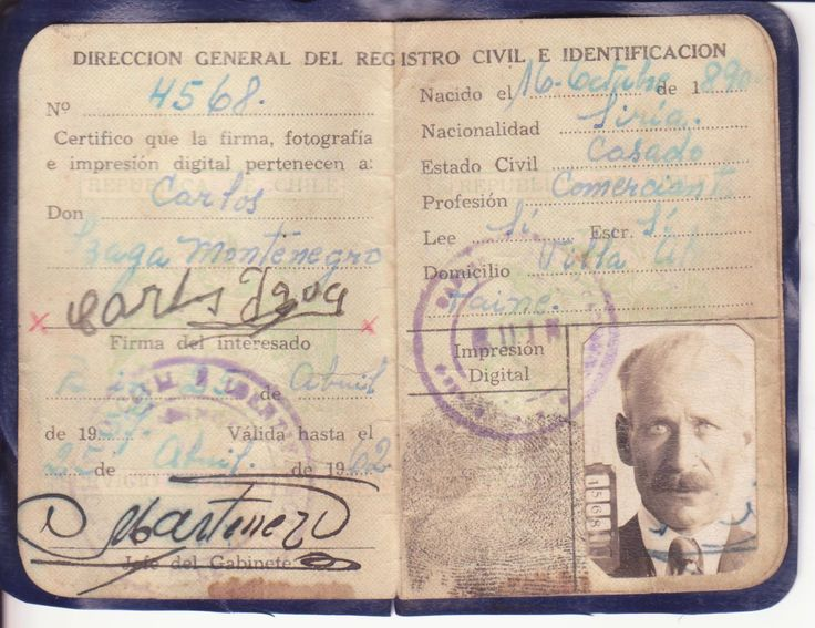 Cédula chilena para extranjeros años 1900