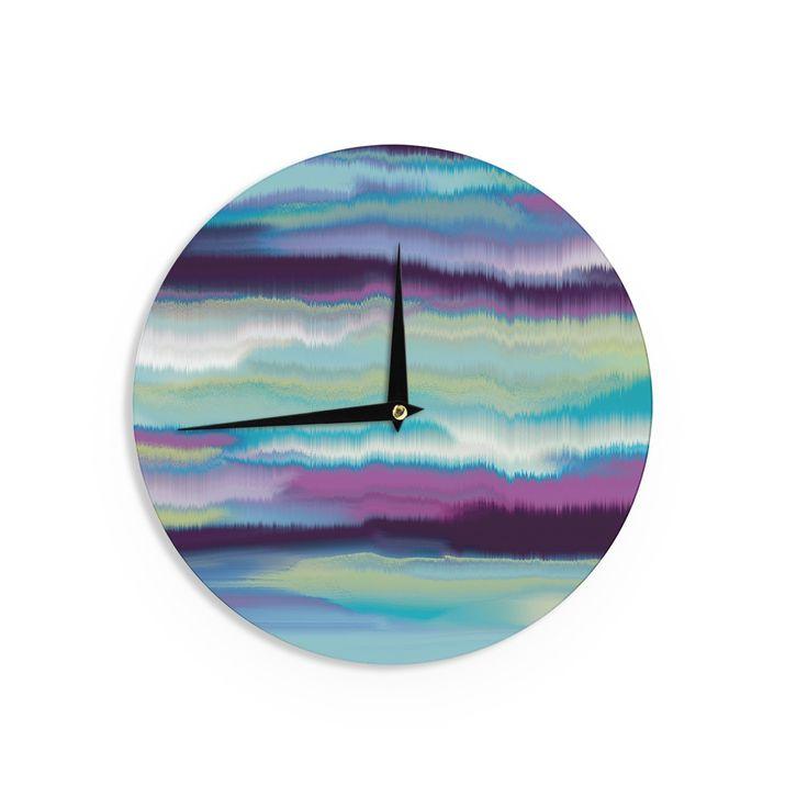 "Nina May ""Artika Blue"" Teal Purple Wall Clock"
