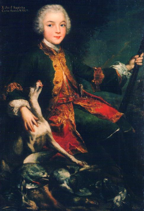 Józef Sapieha   ------by Augustyn Mirys, ca. 1740.   -------- Polish prince (Knyaz) and magnate, member of the Sapieha family (Kodeński line), landowner, social activist, deputy to the Diet of Galicia and Reichsrat. On 30 July 1881, in Cracow, he married Countess Elżbieta Konstancja Potulicka, daughter of Count Kazimierz Wojciech Potulicki and Countess Maria Zamoyska. Władysław Leon and Elżbieta Konstancja had ten children.