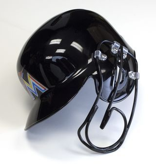 Giancarlo Stanton's helmet now includes a new face guard attachment that is functional and less obstructive than previous versions.