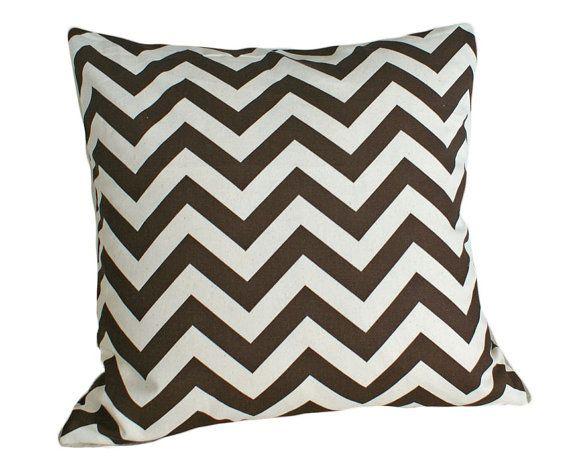 Zigzag Throw Pillows Chevron Pillow Brown Cream Stripes