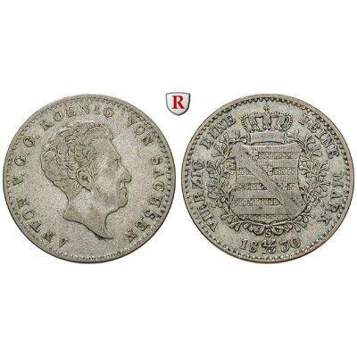 Sachsen, Königreich Sachsen, Anton, 1/3 Konventionstaler 1830, ss: Anton 1827-1836. 1/3 Konventionstaler 1830 S. AKS 72; sehr schön… #coins