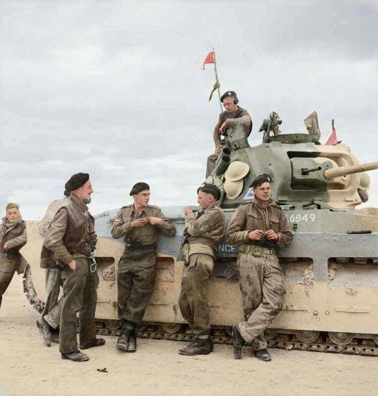 Britsh tank crewmen with their Mark II Matilda medium tank, northern Africa