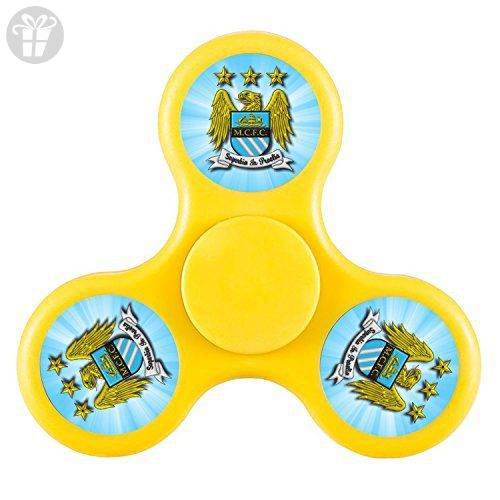 Manchester City Football Club Logo-Fidget Spinner Nice EDC High Speed Stainless Steel Bearing ADHD Focus Anxiety Stress Relief Boredom Killing Time Hand Toys Great Gift-Yellow - Fidget spinner (*Amazon Partner-Link)