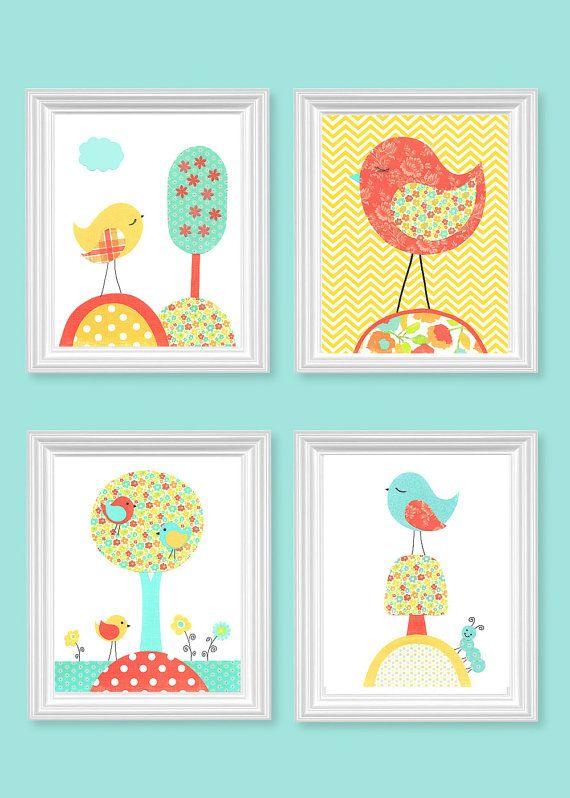 Aqua Coral Yellow Bird Nursery Decor Girl's Room Decor Baby Girl Nursery Art Birds toddler Children Set of 4 Prints 8 x 10 or 11 x 14