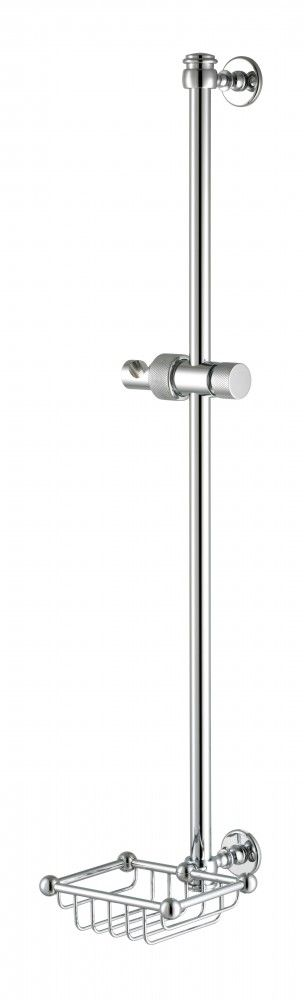 Shower Riser Rail With Basket - Brass Bathroom Accessory