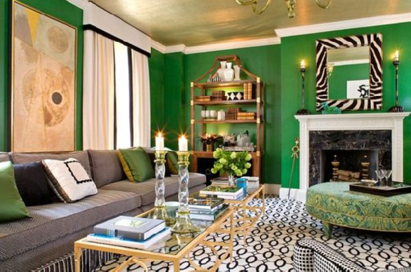 Sherrill Canet - living rooms - emerald green room, emerald green design, emerald green interior design, emerald green living room, emerald ...