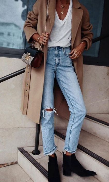 Fall winter look | Beige coat | Ripped jeans | Whi… – #beige #coat #fall #jean…