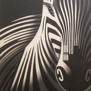 Lukisan Abstrak Minimalis Zebra