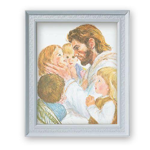 Hook Christ Jesus With Children White Finished Frame