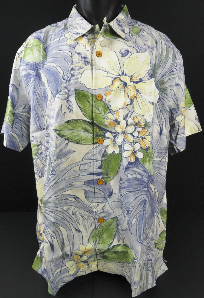 NWT Tommy Bahama Mens XL Brisbane Botanical Silk Camp Shirt Allover Hawaiian SS #TommyBahama #HawaiianCampShirt