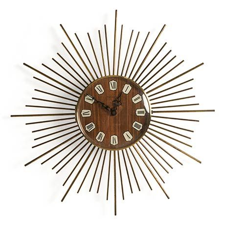 Sunny 1980ler retro tarz duvar saati   Sunny 1980s vintage sunburst clock
