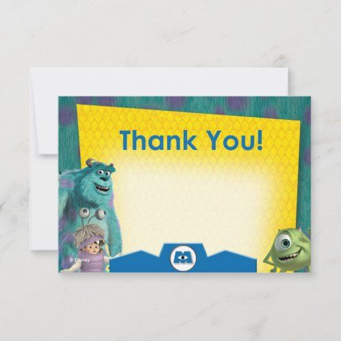 Monsters Inc Birthday Thank You Cards Zazzle Com Birthday Thank You Cards Thank You Cards Thank You Card Size