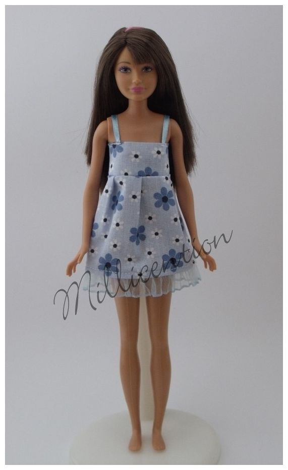 Blue floral ruffled Skipper doll nightgown