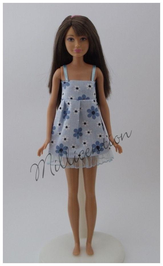 Blue floral ruffled Skipper doll nightgown