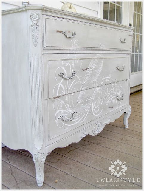 Gray - Grey Painted Dresser, Chest with Bird & Scroll motif painted on the front.