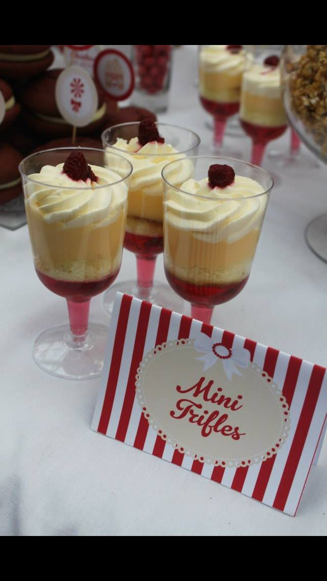Individual trifles - layered sponge, custard, jelly and cream