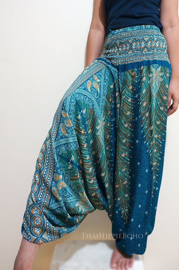 Elegant Peacock Feather Boho Harem Pants Hippy Hippie / Aladdin Pants/ Genie Pants (Teal)