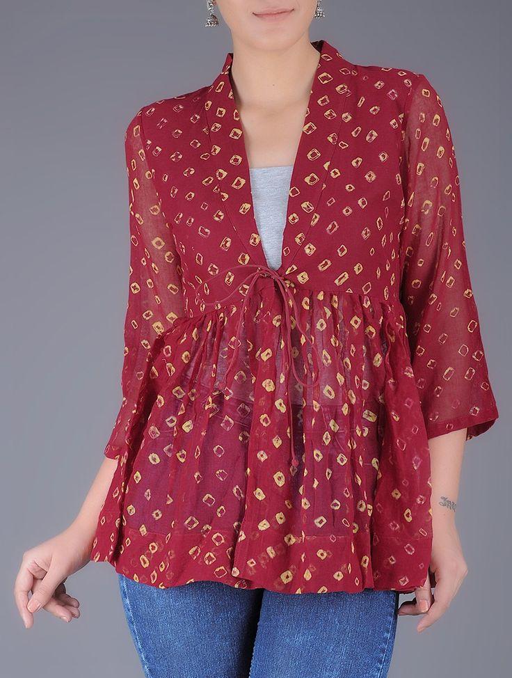 Red Bandhani Printed Tie Up Waist Cotton Kedia Top