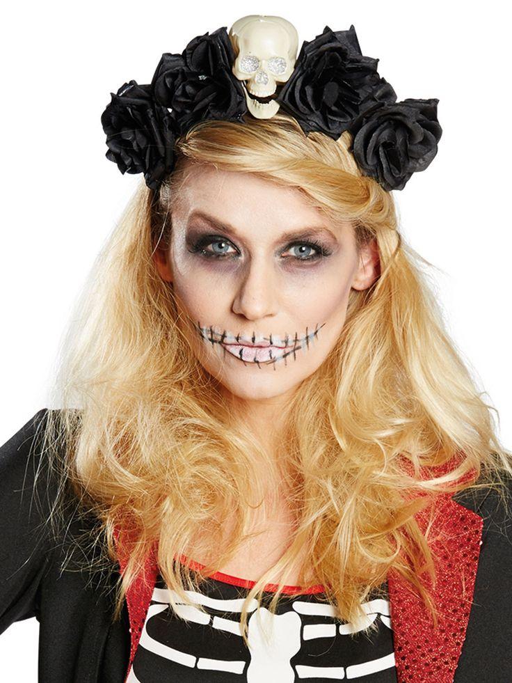 Tag der Toten Haarreif mit Blüten und Totenkopf schwarz-weiss. Aus der Kategorie Karneval Zubehör/Minihüte, Haarreif, Kopfschmuck. Was für ein bezaubernder Totenkopf-Haarreif. Das perfekte Accessoire für Ihr Tag-der-Toten-Kostüm und mit Sicherheit ein echter Eye Catcher!