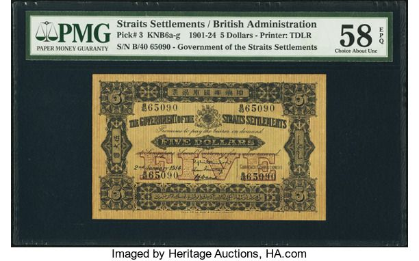 World Currency, Straits Settlements Government of the Straits Settlements $52.1.1914 Pick 3. . ...